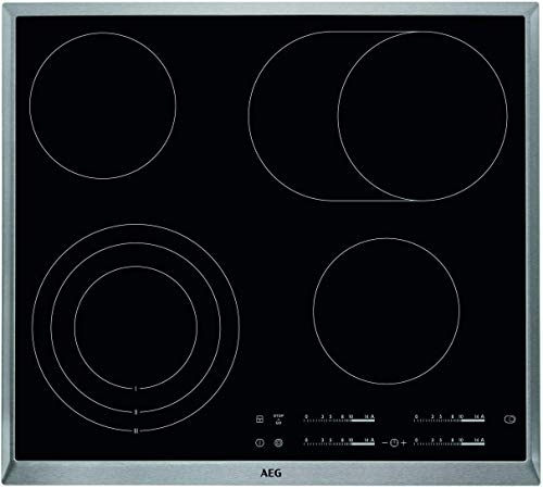 AEG HKA6507RAD Autarkes Glaskeramik-Kochfeld / Strahlenbeheizt / Slider-Bedienung / 60 cm / Edelstahlrahmen / 4 Kochzonen / Bräterzone / Kindersicherung