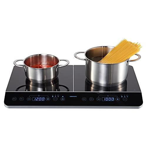 MEDION MD 15324 Doppel-Induktionskochplatte, 3500 Watt, Zwei Kochplatten, 10 Temperaturstufen, LED Display, schwarz